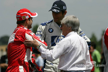 Rubens Barrichello, Mark Webber and Bernie Ecclestone