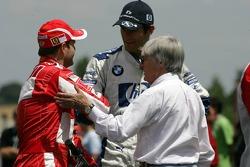 Rubens Barrichello, Mark Webber and Bernie Ecclestone