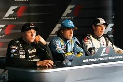 Press conference: pole winner Fernando Alonso with Kimi Raikkonen and Jenson Button