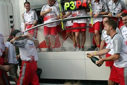 Toyota team members celebrate