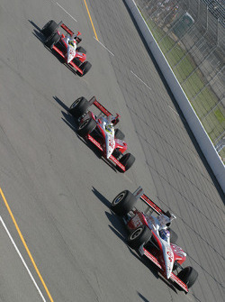 Scott Dixon, Jaques Lazier and Ryan Briscoe