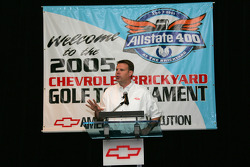 Jim Campbell, Director of Car Marketing for Chevrolet addresses the media at the Brickyard