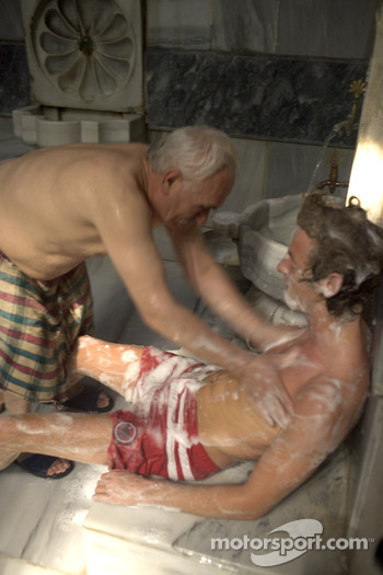 Visit of a Turkish baths: Jenson Button