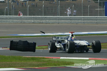 Mark Webber after his crash with Michael Schumacher