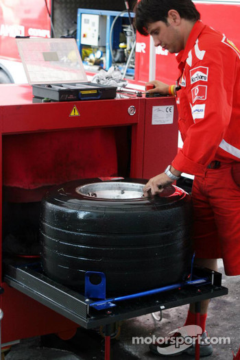 Tire washing machine at Ferrari