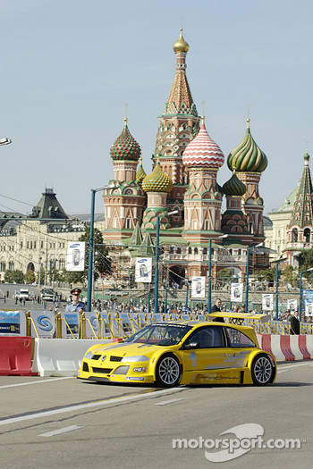 Renault Megane Sport demonstration runs in the streets of Moscow