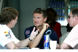 Christian Horner, David Coulthard and Martin Brundell