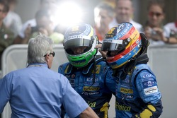 Giancarlo Fisichella and Fernando Alonso celebrate