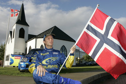 Petter Solberg outside the Cardiff's Norwegian church