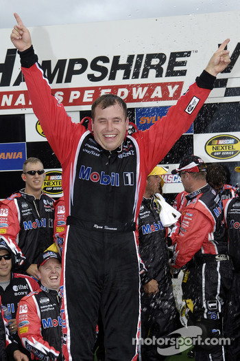 Victory lane: race winner Ryan Newman celebrates