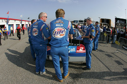 Miller Lite Dodge crew members at tech inspection line