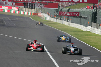 Michael Schumacher and Kimi Raikkonen battle