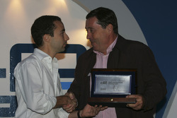 Nicolas Todt accepts the award for the first placed team