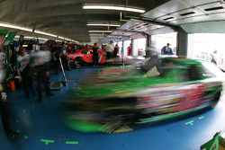 Bobby Labonte leaves the garage