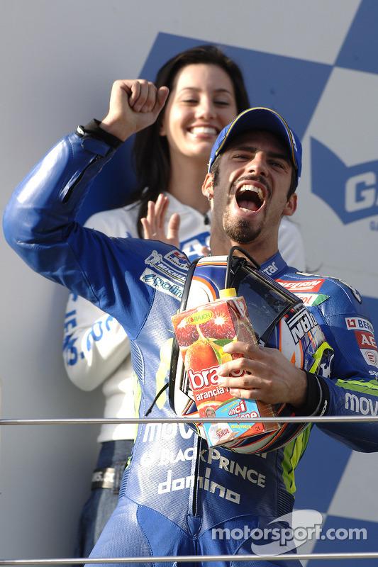 Podium: race winner Marco Melandri celebrates