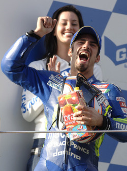 Podium: race winner Marco Melandri celebrates