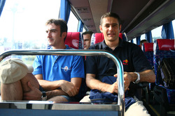 Andrea Bertolini and Karl Wendlinger in the bus to the circuit