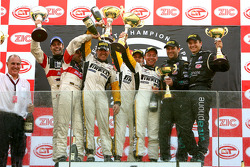 GT1 podium: class and overall winners Bert Longin, Anthony Kumpen and Mike Hezemans, with second place Gabriele Gardel and Pedro Lamy, and third place Michael Bartels and Timo Scheider