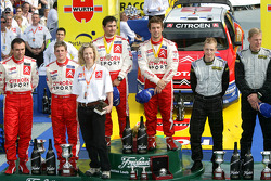 Podium: rally winners Sébastien Loeb and Daniel Elena, with second place François Duval and Sven Smeets, and third place Mikko Hirvonen and Jarmo Lehtinen