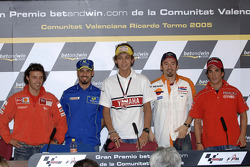 Press conference: Loris Capirossi, Marco Melandri, Valentino Rossi, Alex Barros and Toni Elias