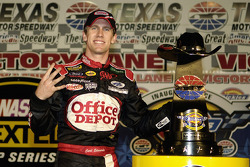 Victory lane: race winner Carl Edwards celebrates his fourth win of the season