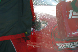 Gas splashes from Jeremy Mayfield's car