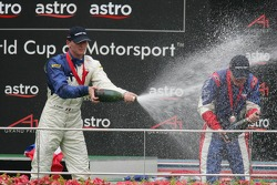 Podium: champagne for Alexandre Premat and Robbie Kerr