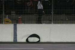 Part of the left rear tire lost by Robby Gordon