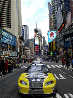 The Sprint/Nextel car leads the way through Times Square