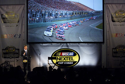 NASCAR Chairman & CEO Brian France delivers a speech at a press luncheon