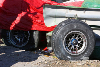 Parts from the Ferrari of Luca Badoer after his crash