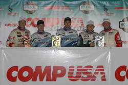 GT podium: class winner Jan Magnussen and Paul Edwards, with Joey Hand and Justin Marks, and Randy Pobst and Michael Levitas