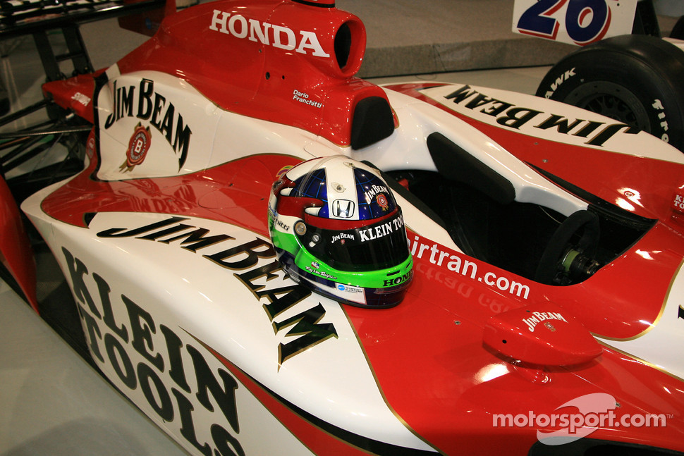 Dario Franchitti's helmet on the No. 27 Klein Tools Jim Beam Dallara Honda Firestone