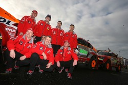 Drivers and co-drivers for Team Repsol Mitsubishi Ralliart: Stéphane Peterhansel, Jean-Paul Cottret, Hiroshi Masuoka, Pascal Maimon, Luc Alphand, Gilles Picard, Nani Roma and Henri Magne