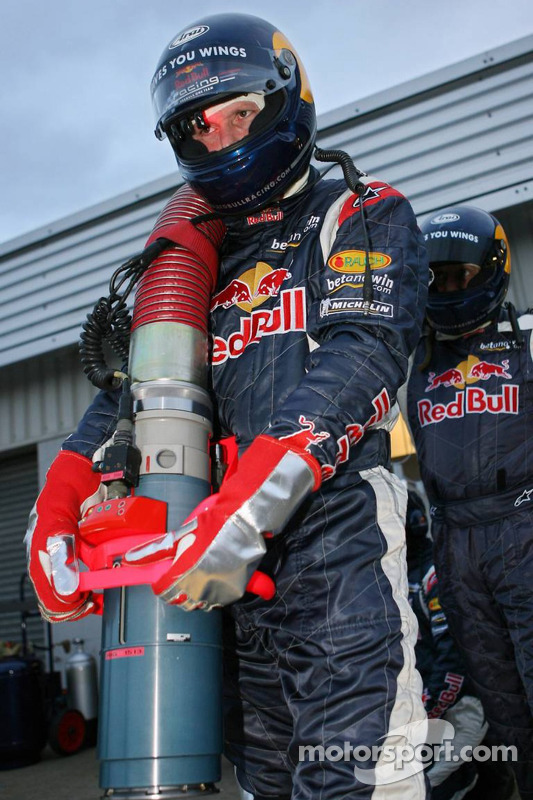 Red Bull Racing team member ready for refuel practice