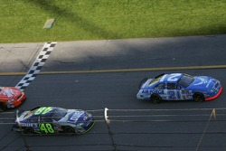 Green flag: Ken Schrader leads Jimmie Johnson