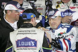 Victory lane: James Caan congratulates Jimmie Johnson