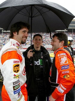 Elliott Sadler, Denny Hamlin and Tony Stewart