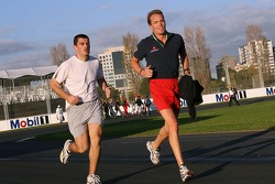 Robert Doornbos runs around the track
