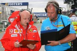 Ferrari and Renault team members swap data