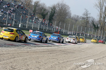 Race action in first chicane