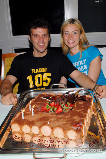 A cake for Loris Capirossi and wife Ingrid