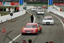 The top 3 winning cars come driving into the pitlane after the race, Bernd Schneider, Tom Kristensen, Heinz-Harald Frentzen