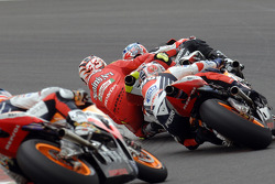 Casey Stoner, Marco Melandri and Dani Pedrosa battle