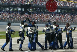 Lowe's Chevrolet crew members celebrate on pit row