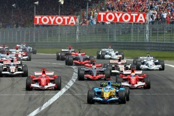 Formation lap: Fernando Alonso leads the field
