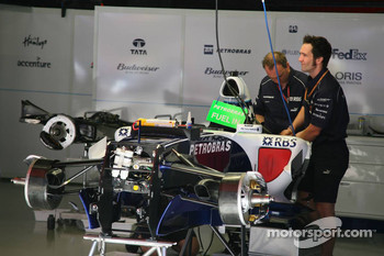 The car of Mark Webber is prepared
