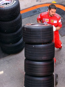 A Ferrari team member with Bridgestone tires