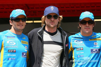 Giancarlo Fisichella, actor Owen Wilson promoting new animated film