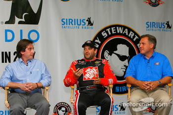 VP of Sports Programming, Steve Cohen, Tony Stewart, driver of the #20 Home Depot Chevrolet, and TV personality Matt Yokum talk to the media at a press conference announcing their new radio show on Sirius Radio